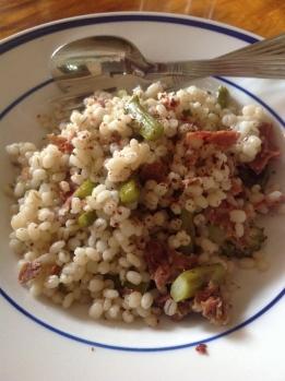 Barley w Crisped Prosciutto ... Asparagus and Broccoli