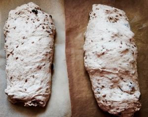 Parchment paper on the right is darker because I'd used it for baking biscuits earlier.